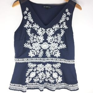 INC Navy Blue White Floral Sleeveless Blouse Small